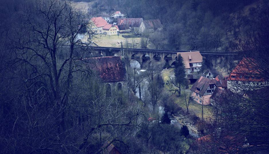 Blick von Rothenburg ins mittelalterliche Taubertal.