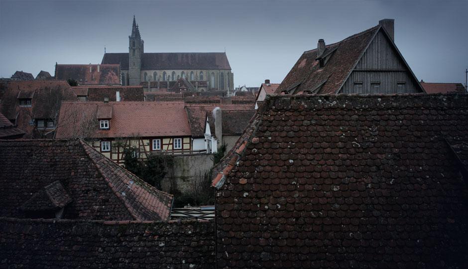 Über den Dächern von Rothdenburg ob der Tauber.