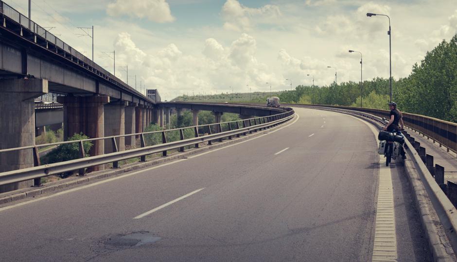 In einem ruhigen Moment auf der rumänischen Autobahn.