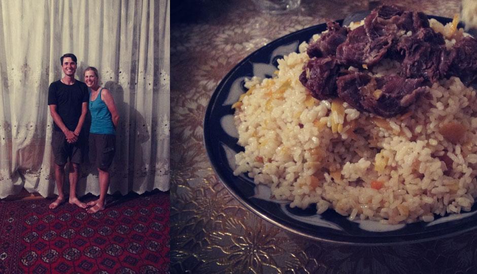 Zum Abendessen wird uns ein usbekisches Festmahl serviert.
