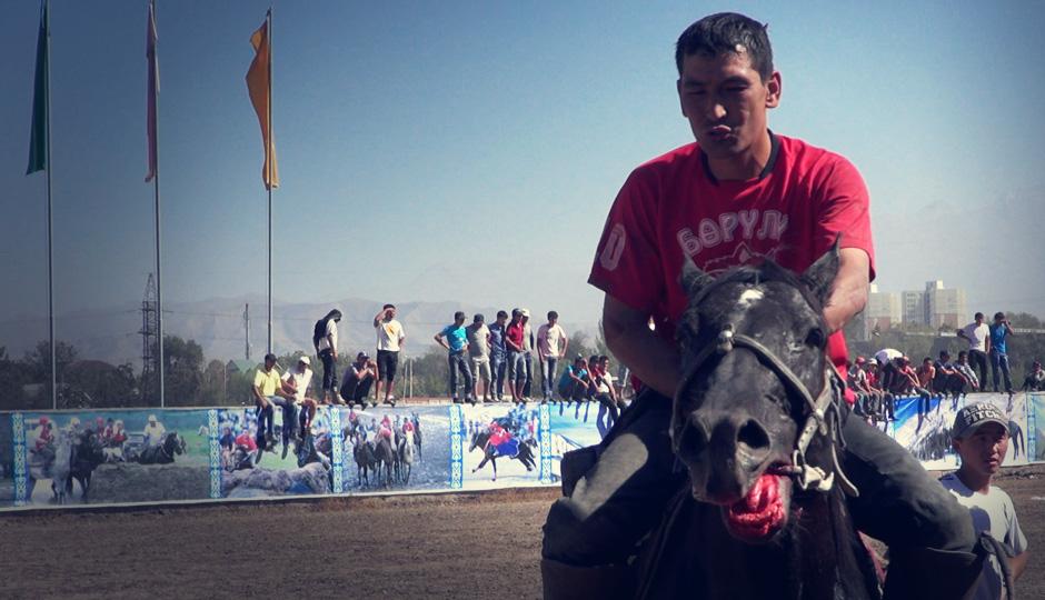 Verletzungen bei Mensch und Tier bleiben nicht aus. Doch auch der Reiter scheint besorgt um sein Pferd zu sein.