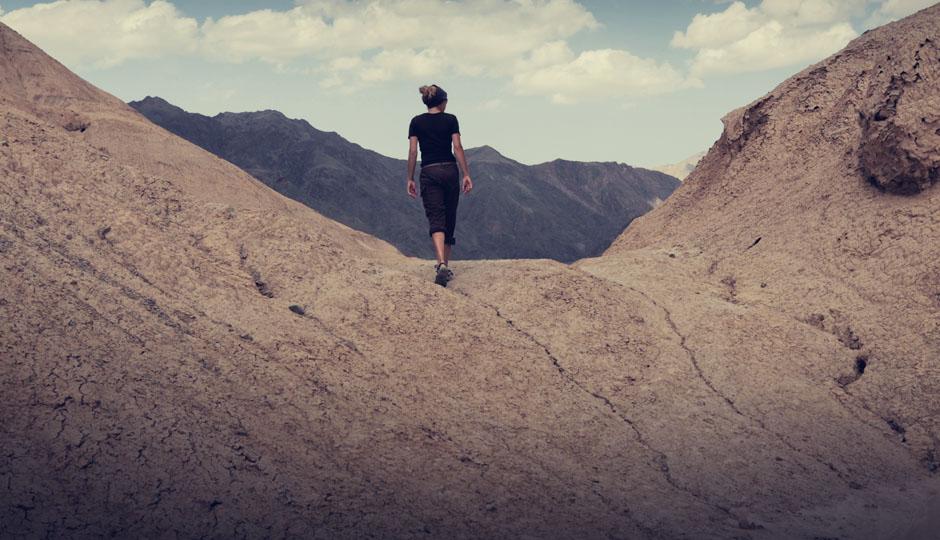 Manchmal wünscht man sich einfach zu Fuß, ohne die schweren, bepackten Räder, den Anstieg zu bewältigen.